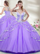 Glamorous Scoop Sleeveless Zipper Sweet 16 Quinceanera Dress Lavender Tulle