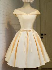 Glittering Knee Length Lace Up Damas Dress Champagne for Prom and Party and Wedding Party with Belt
