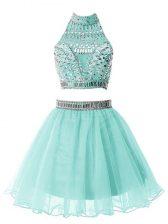 Vintage Light Blue Zipper Quinceanera Court of Honor Dress Beading Sleeveless Knee Length