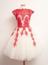 Ideal Tulle Scalloped Sleeveless Lace Up Appliques Quinceanera Dama Dress in White And Red