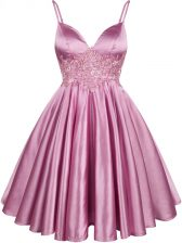Spaghetti Straps Sleeveless Quinceanera Court of Honor Dress Knee Length Lace Lilac Elastic Woven Satin