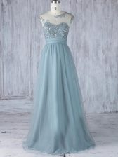 Sumptuous Grey Cap Sleeves Tulle Zipper Dama Dress for Quinceanera for Prom and Party and Wedding Party