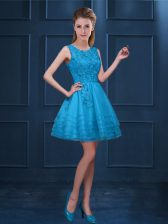 Baby Blue Scoop Zipper Lace and Ruffled Layers Quinceanera Court of Honor Dress Sleeveless
