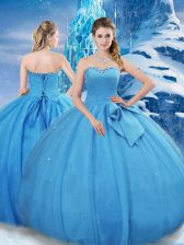 Baby Blue Tulle Lace Up Sweetheart Sleeveless Floor Length Sweet 16 Dress Bowknot