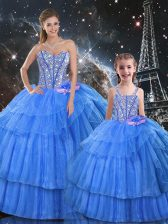 High End Sweetheart Sleeveless Organza and Tulle Ball Gown Prom Dress Ruffled Layers Lace Up