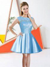 Aqua Blue Sleeveless Taffeta Backless Vestidos de Damas for Prom and Party