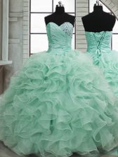Colorful Sweetheart Sleeveless Lace Up Sweet 16 Quinceanera Dress Apple Green Organza
