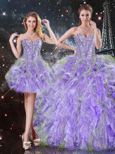 Lavender Sleeveless Beading and Ruffles Floor Length Vestidos de Quinceanera