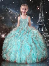 High Class Floor Length Lace Up Little Girls Pageant Dress Wholesale Aqua Blue for Quinceanera and Wedding Party with Beading and Ruffles