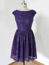 Knee Length Purple Damas Dress Scoop Cap Sleeves Lace Up