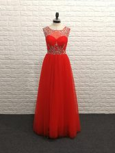 Sumptuous Red Backless Prom Gown Beading Sleeveless Floor Length