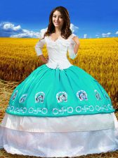 Exceptional Aqua Blue Taffeta Lace Up Off The Shoulder 3 4 Length Sleeve Floor Length Sweet 16 Dress Embroidery