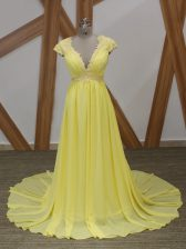 Lace and Appliques Prom Party Dress Yellow Zipper Short Sleeves Brush Train
