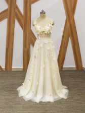 Champagne Empire Tulle Straps Sleeveless Hand Made Flower Floor Length Lace Up Dress for Prom