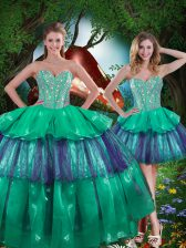 Floor Length Ball Gowns Sleeveless Turquoise Quinceanera Gowns Lace Up