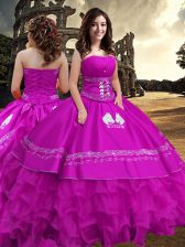 Exceptional Fuchsia Ball Gowns Embroidery and Ruffled Layers 15th Birthday Dress Zipper Taffeta Sleeveless Floor Length