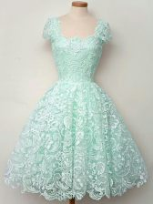 Traditional A-line Dama Dress Apple Green Straps Lace Cap Sleeves Knee Length Lace Up