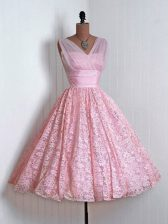 Simple Baby Pink Lace Lace Up Quinceanera Court of Honor Dress Sleeveless Mini Length Lace
