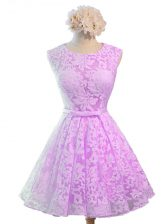Knee Length Lace Up Dama Dress Lilac for Prom and Party and Wedding Party with Belt