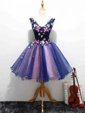 Adorable V-neck Sleeveless Dress for Prom Mini Length Lace and Appliques and Hand Made Flower Multi-color Organza