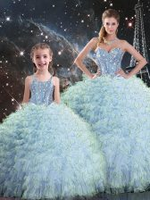 Exceptional Aqua Blue Sweetheart Neckline Beading and Ruffles 15th Birthday Dress Sleeveless Lace Up