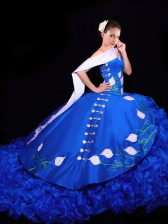 Lovely Royal Blue Sleeveless Organza Brush Train Lace Up Quinceanera Dresses for Military Ball and Sweet 16 and Quinceanera