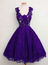 Excellent Sleeveless Knee Length Lace Lace Up Vestidos de Damas with Purple