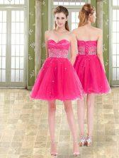 Chic Sleeveless Lace Up Mini Length Beading and Ruffles Evening Dress