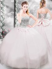 Eye-catching Tulle Sleeveless Ball Gown Prom Dress Brush Train and Beading and Bowknot