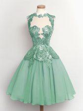 Super Knee Length Light Blue Dama Dress for Quinceanera High-neck Sleeveless Lace Up