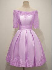 Fancy A-line Dama Dress for Quinceanera Lilac Off The Shoulder Taffeta Half Sleeves Knee Length Lace Up