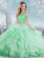 Graceful Floor Length Clasp Handle 15 Quinceanera Dress Apple Green for Military Ball and Sweet 16 and Quinceanera with Beading and Ruffles