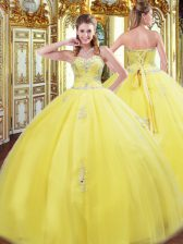 Sweetheart Sleeveless Tulle Quinceanera Gowns Beading and Appliques Lace Up