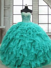Floor Length Lace Up 15 Quinceanera Dress Turquoise for Military Ball and Sweet 16 and Quinceanera with Beading and Ruffles