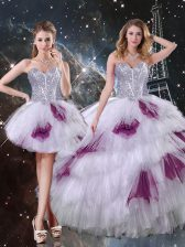 Lovely Floor Length Zipper Sweet 16 Quinceanera Dress Multi-color for Military Ball and Sweet 16 and Quinceanera with Beading and Ruffled Layers and Sequins