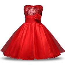 Exceptional Sleeveless Organza and Sequined Knee Length Zipper Toddler Flower Girl Dress in Red with Bowknot and Belt and Hand Made Flower