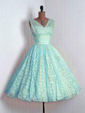 Cute Aqua Blue Lace Up Dama Dress Lace Sleeveless Mini Length