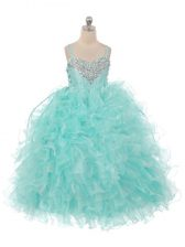 Aqua Blue Sleeveless Organza Lace Up Kids Pageant Dress for Wedding Party