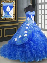 Blue Sleeveless Organza Brush Train Lace Up Quinceanera Gowns for Military Ball and Sweet 16 and Quinceanera
