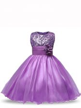 Knee Length Purple Little Girls Pageant Gowns Organza Sleeveless Sequins and Hand Made Flower