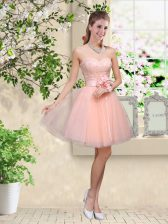 Tulle Sweetheart Sleeveless Lace Up Lace and Belt Dama Dress in Peach