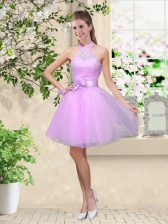 Noble A-line Dama Dress for Quinceanera Lavender Halter Top Tulle Sleeveless Knee Length Lace Up