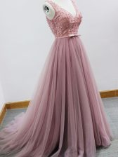 Top Selling Pink Court Dresses for Sweet 16 Tulle Brush Train Sleeveless Beading and Belt