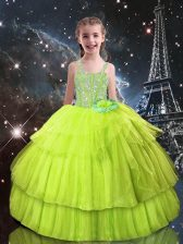 Yellow Green Sleeveless Floor Length Beading and Ruffled Layers Lace Up Little Girls Pageant Dress