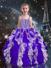 Straps Sleeveless Organza Girls Pageant Dresses Beading and Ruffles Lace Up