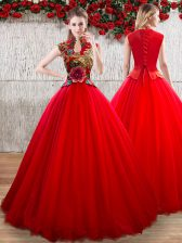 Ball Gowns Vestidos de Quinceanera Red High-neck Organza Short Sleeves Floor Length Lace Up