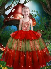 Perfect Red Lace Up Straps Beading and Ruffled Layers Pageant Gowns For Girls Organza Sleeveless