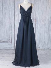 Excellent Spaghetti Straps Sleeveless Vestidos de Damas Floor Length Ruching Navy Blue Chiffon