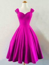 Extravagant Fuchsia Straps Neckline Ruching Dama Dress for Quinceanera Sleeveless Lace Up