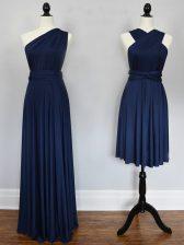 Floor Length Empire Sleeveless Navy Blue Damas Dress Lace Up